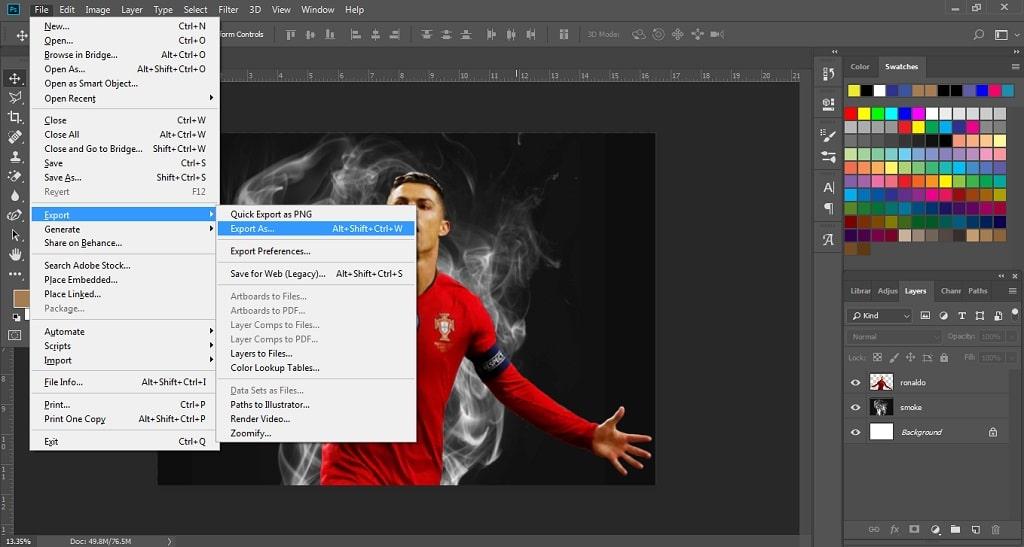 export setelah seleksi gambar di photoshop
