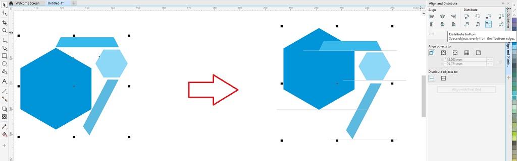 fitur coreldraw untuk menata letak objek dengan distribute bottom