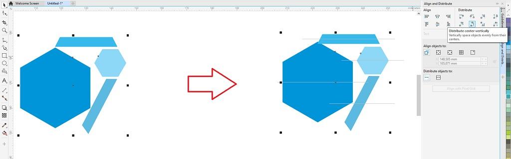 menata letak objek dengan distribute center vertically