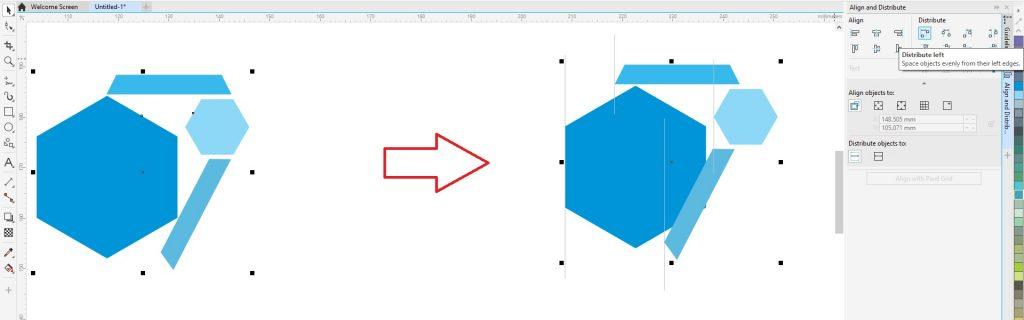 menata letak objek dengan distribute left