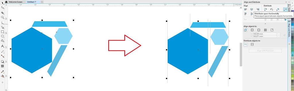 distribute space horizontally