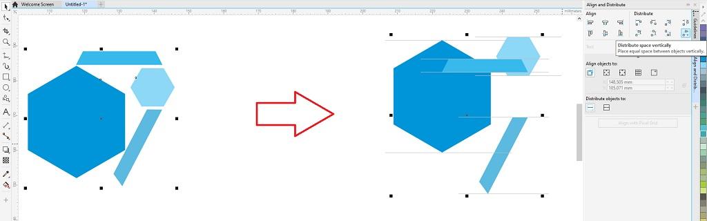 fitur coreldraw untuk menata letak objek dengan distribusi vertikal spasi otomatis