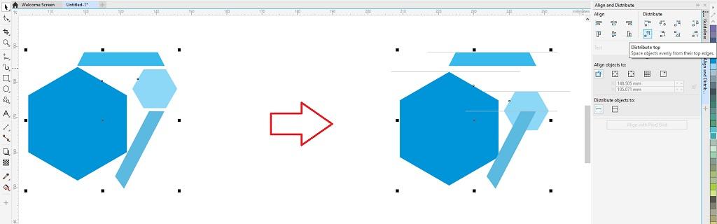 menata letak objek distribute top