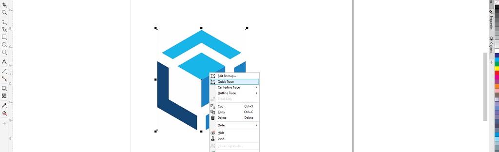 mengubah gambar menjadi vektor dengan klik kanan trace bitmaps