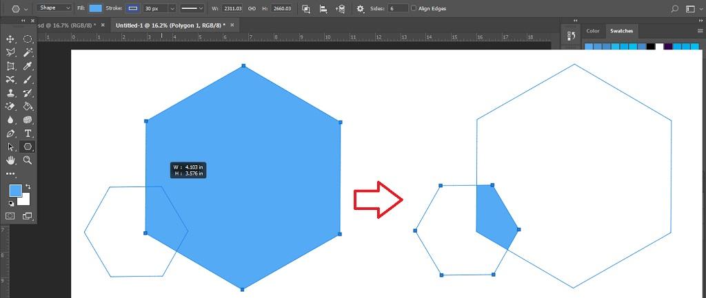 Intersect Shape Areas membuat objek unik dengan path operation pada photoshop