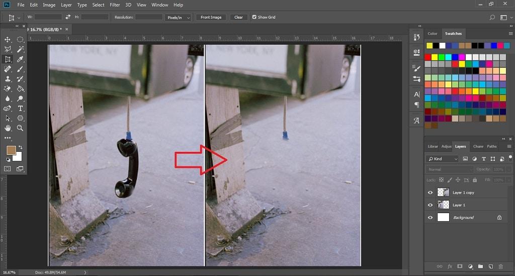 hasil menghapus objek dengan clone stamp tool di photoshop