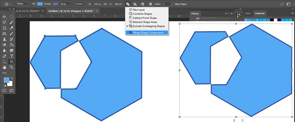Merge Shape Components membuat objek unik dengan path operation pada photoshop