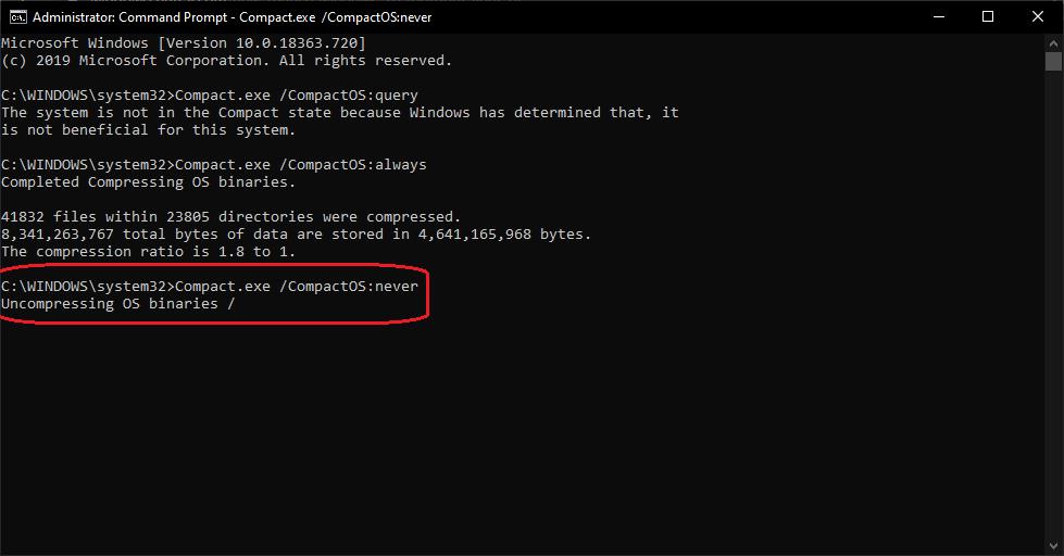 Windows 10 Compression