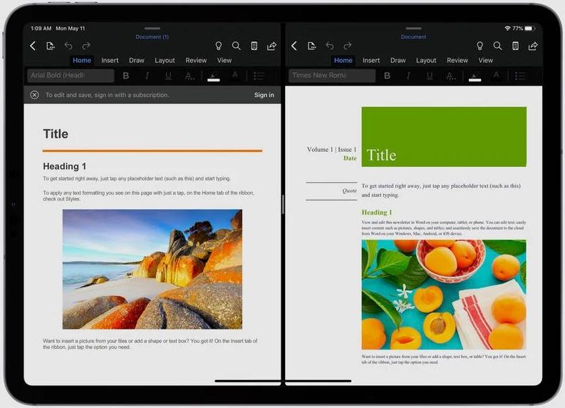 split view office di iPad