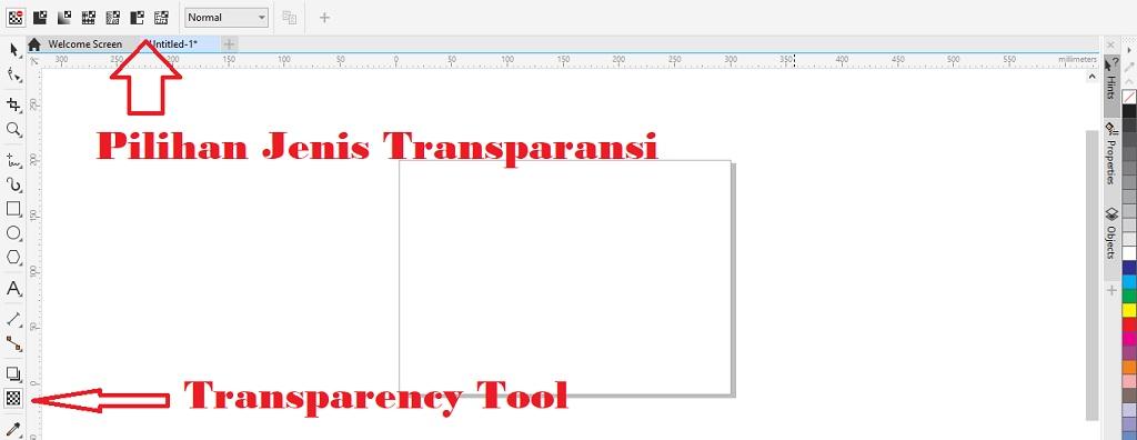 letak transparency tool untuk memberi efek transparan di coreldraw