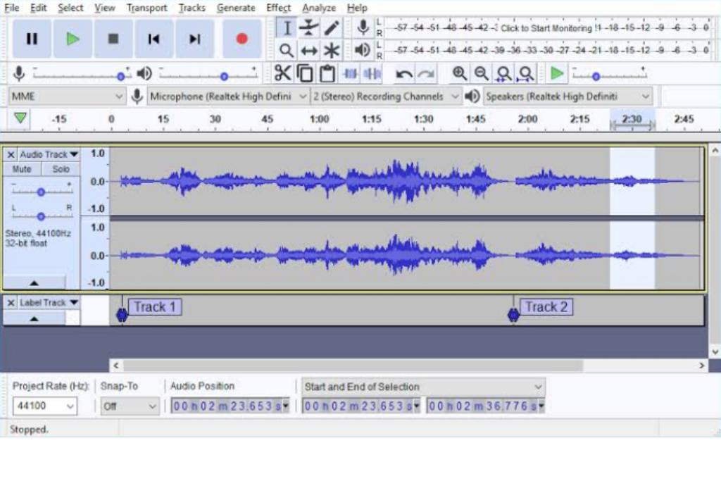 software editing audio : audacity