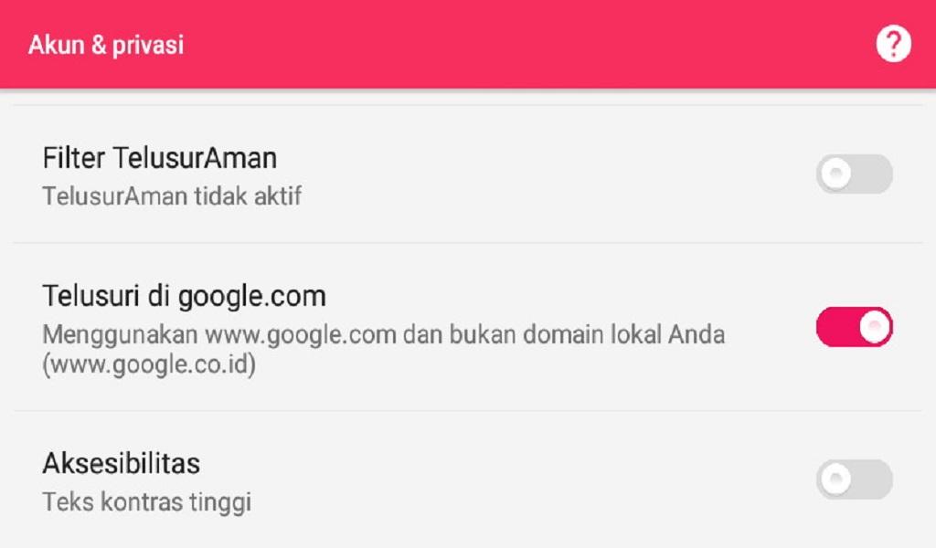 Setelan Privasi Google