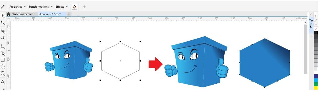 contoh mengcopy gradasi warna dari objek coreldraw