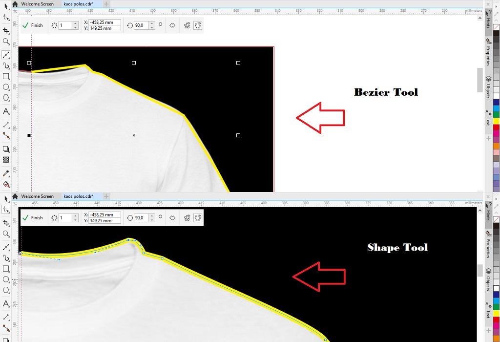 menggunakan bezier tool dan shape tool untuk membuat desain kaos polos