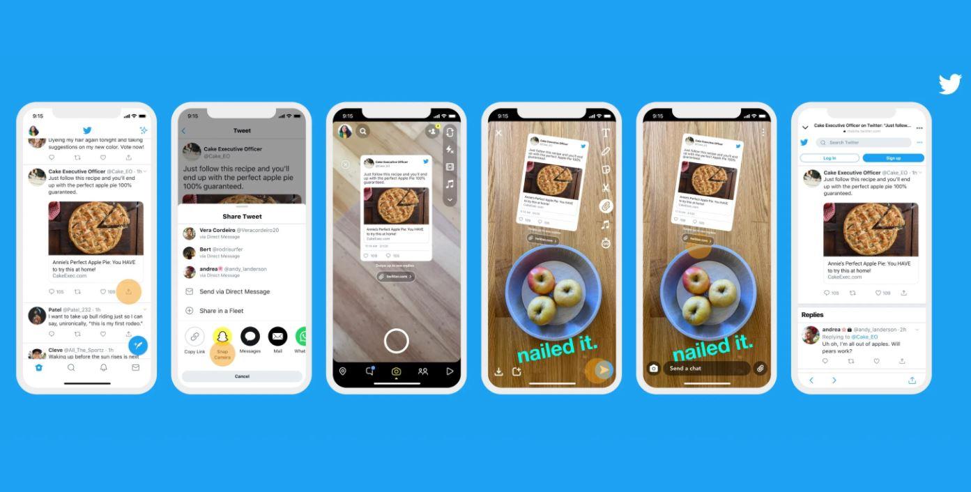 Snapchat mengintegrasikan fitur berbagi dengan aplikasi Twitter