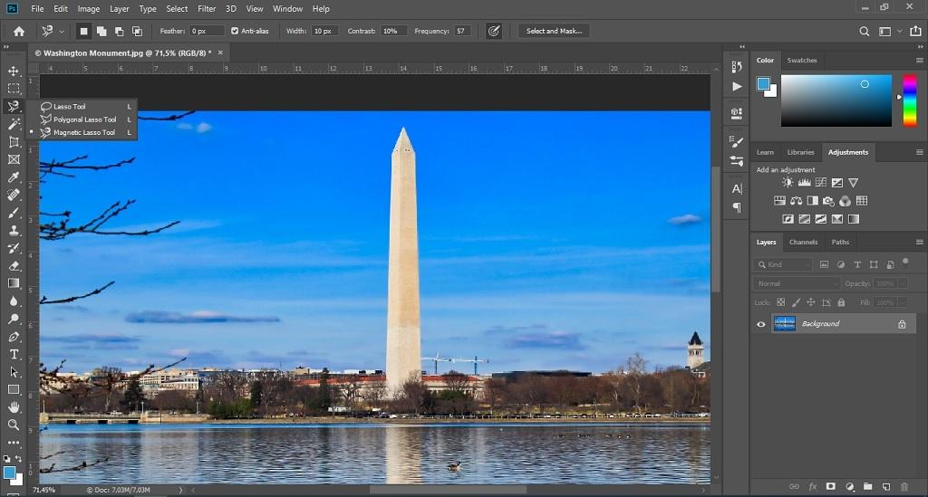 Seleksi gambar untuk menghilangkan objek di photoshop.