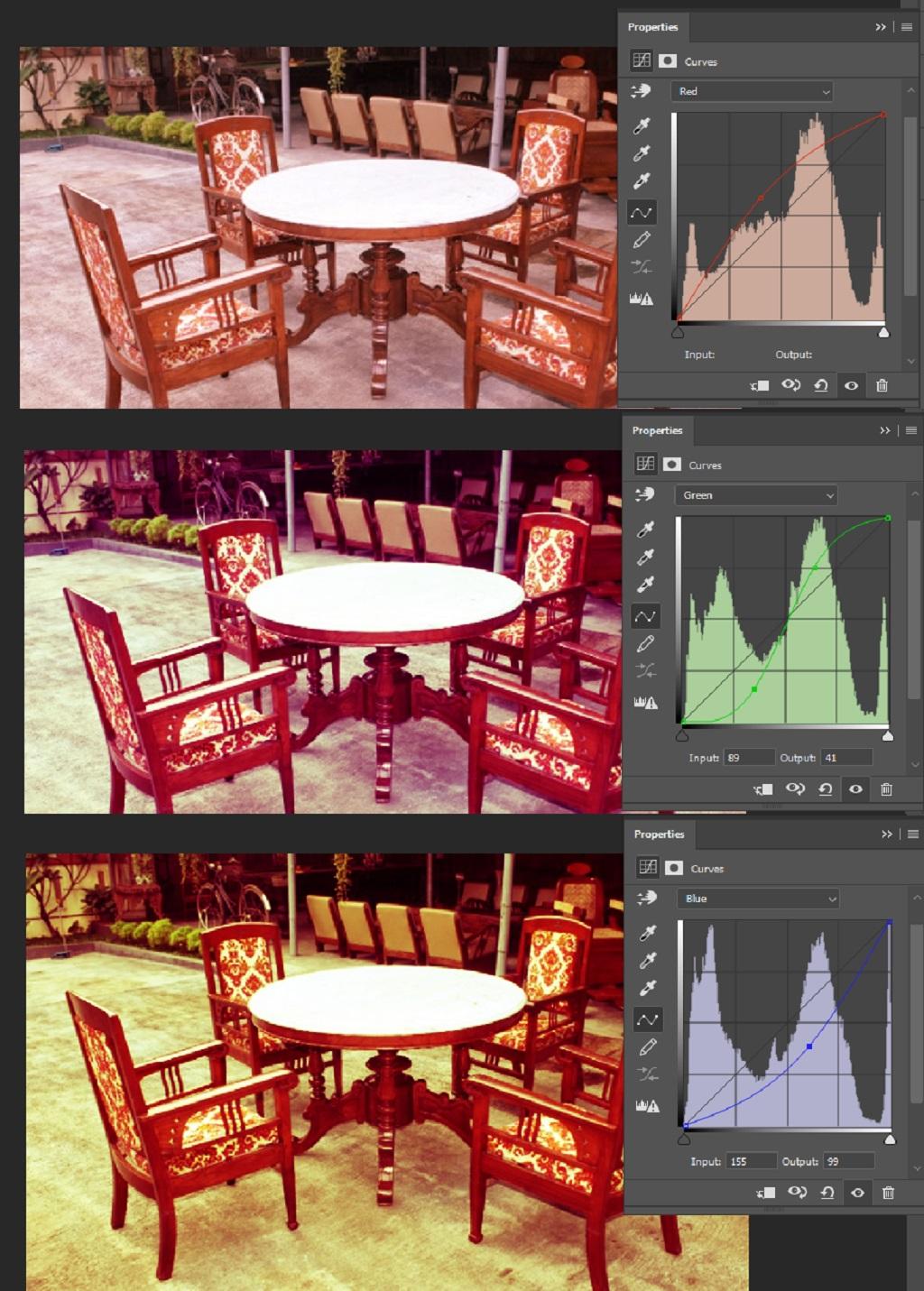 mengatur posisi point curve untuk mendapatkan efek vintage pada foto