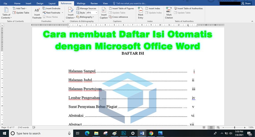 Cara mudah membuat daftar isi otomatis pada Microsoft Word
