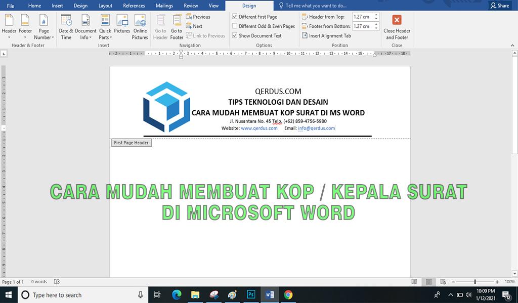 Cara mudah membuat kop surat dengan MS Word