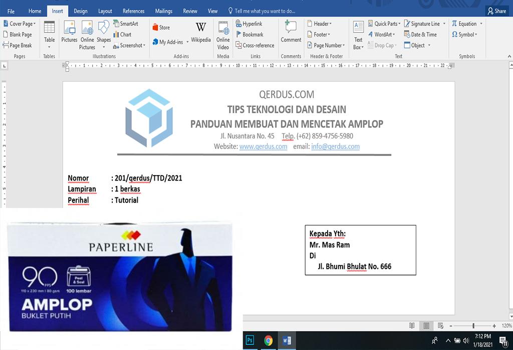 Membuat dan mencetak amplop surat 90PPS di MS Word dengan mudah