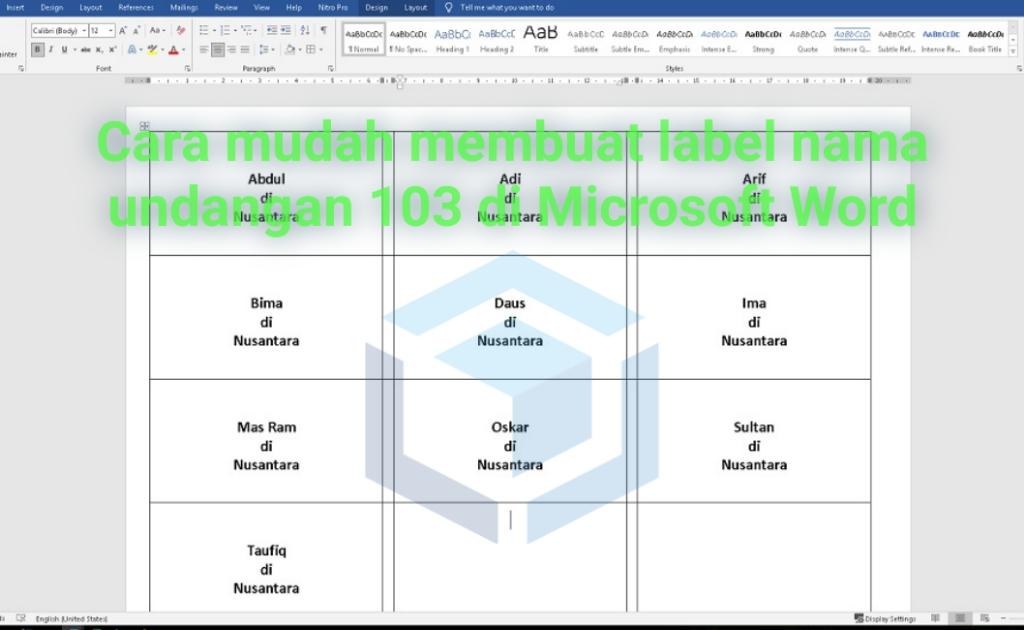 Cara mudah membuat label nama undangan 103 di MS Word