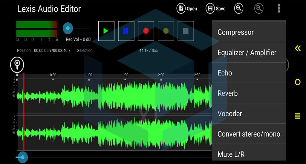 fitur lainnya untuk mengedit suara vokal pada aplikasi lexis audio editor