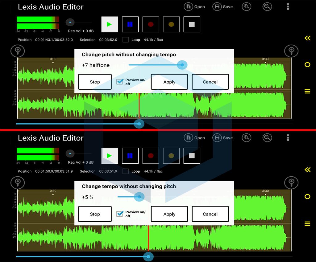 gambar effect change pitch dan change tempo untuk mengedit suara vokal