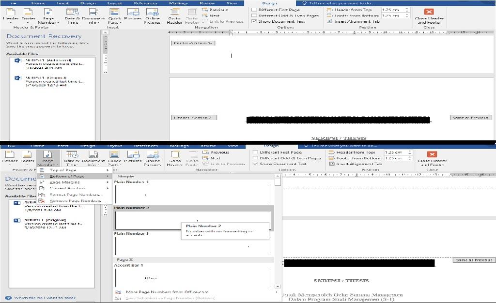 gambar membuat penomoran halaman skripsi / thesis