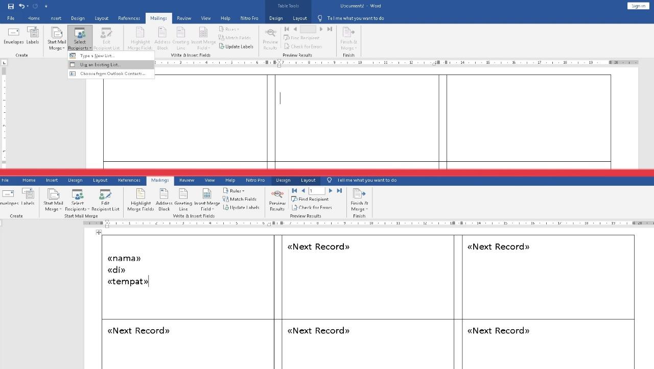 Mulai mengimpor file nama undangan dari excel