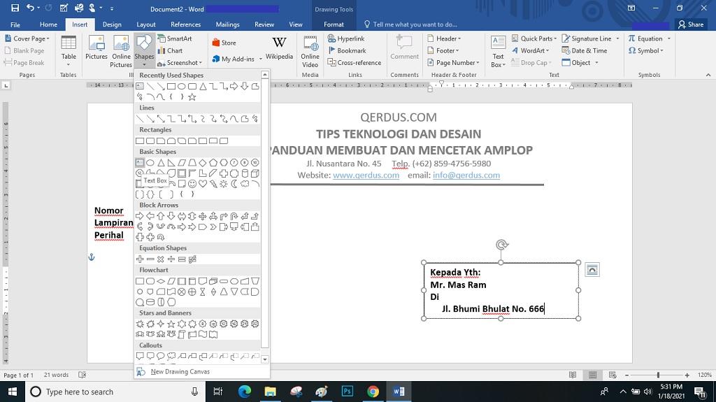 keterangan dan membuat Text Box