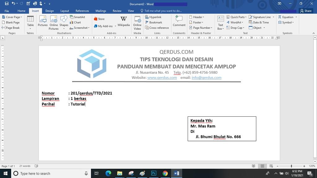 panduan membuat dan mencetak amplop surat di ms word
