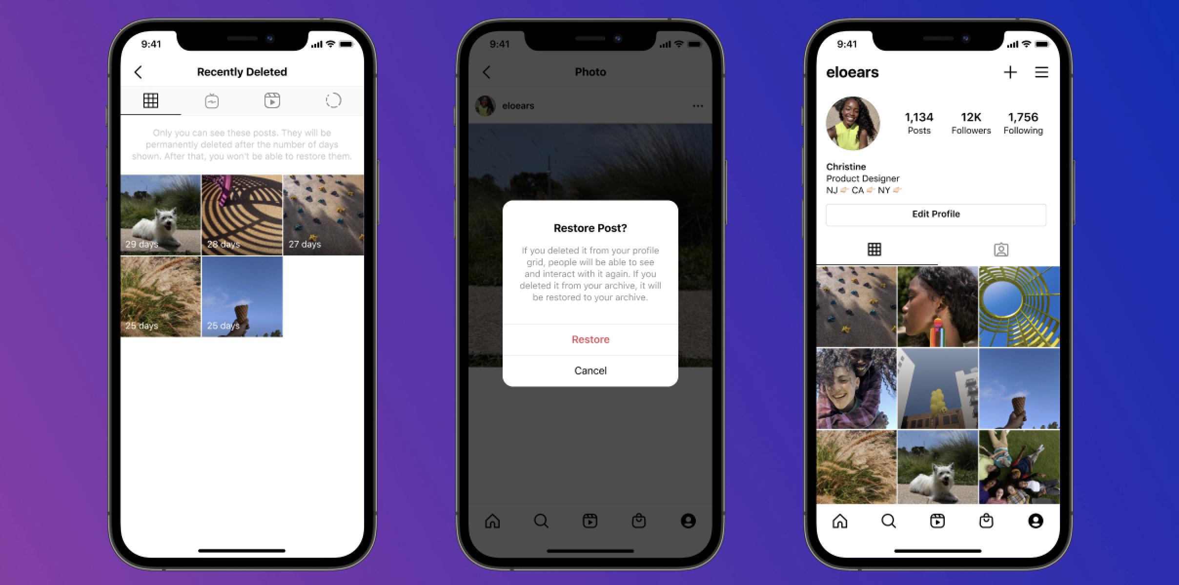 Cara mengembalikan postingan Instagram