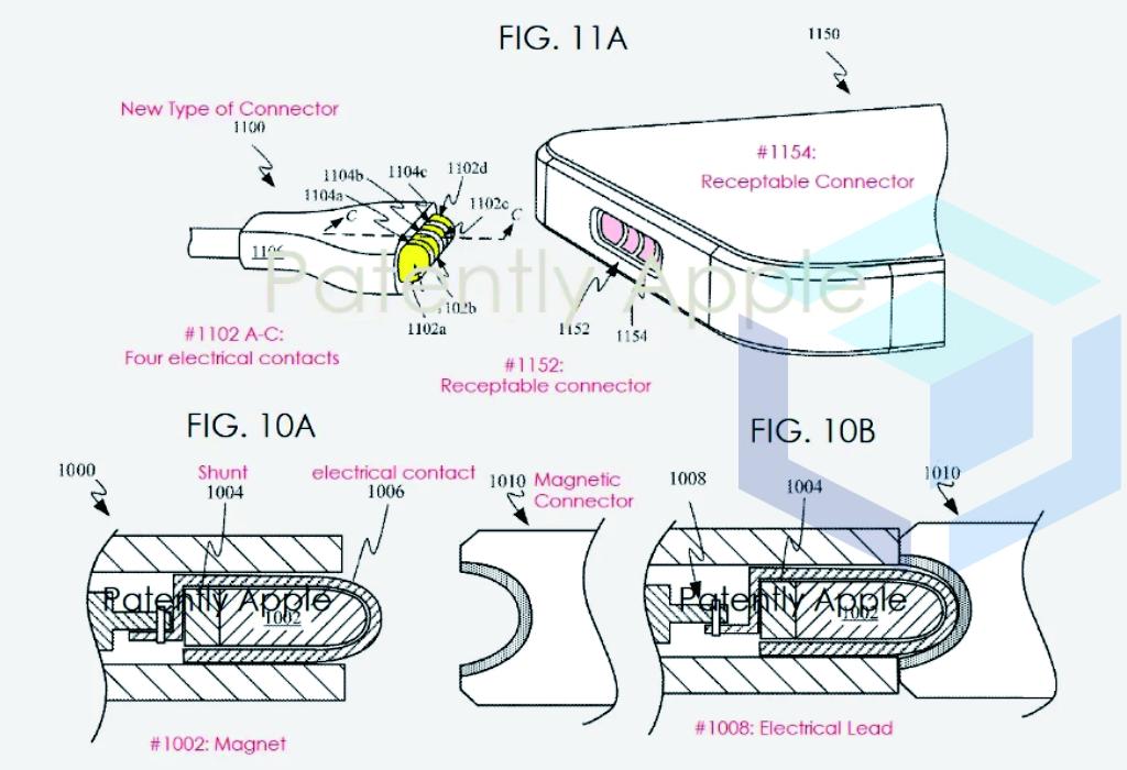 ilustrasi paten untuk konektor magnetik baru pada iphone