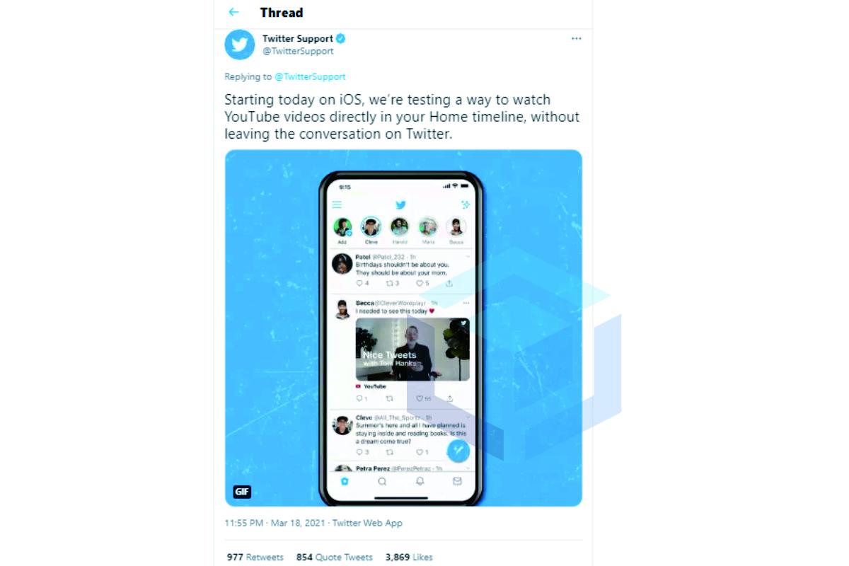 Thread yang menyatakan twitter sedang menguji fitur menonton video youtube pada iOS